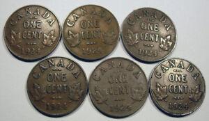 Six 1924 Semi Key date 1 Cents, low grade, low start