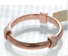 NOS Kirks Folly Flexible Band Bracelet - Rose Gold Tone - Crystal Stations