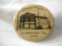 Friendship Fire House Station Mohnton PA 1925 Pocket Mirror Antique Vintage