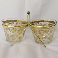 Vintage Culver 22k Gold Chantilly Dual Double Ice Bucket w/ Caddy MCM 1960's