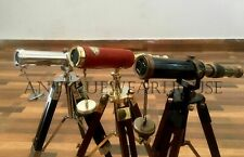 3 Solid Brass Pirate Spyglass Telescope With Wooden Tripod Decor handmade desig