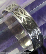 Vintage Flower Sterling Silver 0.925 Ring Wedding Friendship Band size 8 or Q
