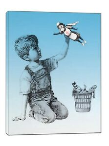 Banksy Game Changer Super Hero Nurses blue Paint Picture Print Canvas Wall Art
