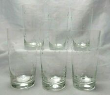 Hand Blown Clear Glass Highball Tumblers Etched Mini Stars Set of 6