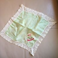 Antique Silk Handkerchief Old WW1 Kind Remembrance Green Lace Embroidered Hanky