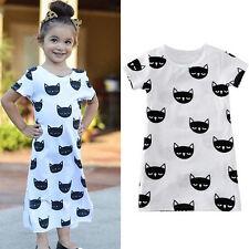 Toddler Baby Girls Kids Summer Short Sleeve Party Long Dress Split Dresses 3/4T