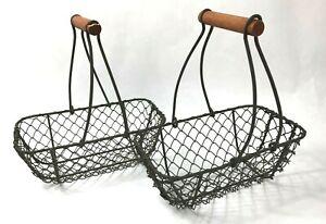 "2 Rectangle Metal Wire Baskets w Wood Handles 8"" Cottage Core Farmhouse"