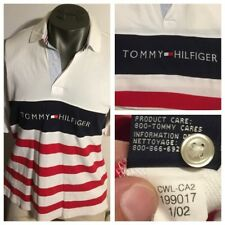 Vintage 2002 Tommy Hilfiger Spellout Flag Logo Rugy Polo Shirt Men XL-2XL Fit