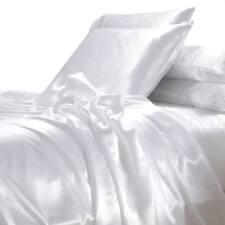White Satin Sheet Set Queen Size Silk Feel Romantic Wedding Luxury Bedding