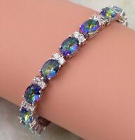 925 Silver Lovely Rainbow Mystic  Fire Opal Gemstone Topaz Tennis Bracelet
