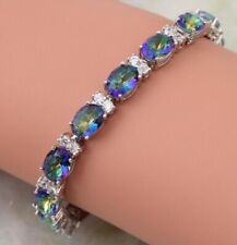 925 Silver Lovely Rainbow Mystic  Fire Opal Gemstone Topaz Tennis Bracelet