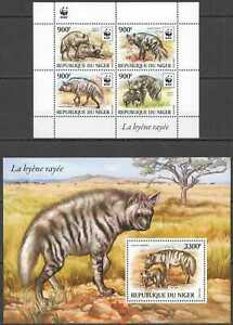 NW0577 2015 NIGER WWF HYENAS WILD ANIMALS #3742-3745+BL473 SALE