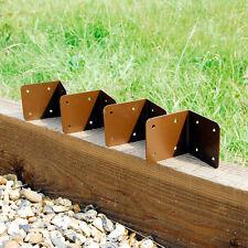 4 X CORNER Timber Railway Sleeper Bracket Wooden Planter Raised Bed Edge - Brown