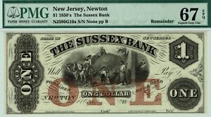 $1 Sussex Bank, New Jersey.  PMG 67 EPQ Superb GEM Uncirculated. Trophy Note.