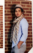 New Men Fashion Cotton Long Scarf Wrap Distressed Striped Peach/Beige/Black Soft