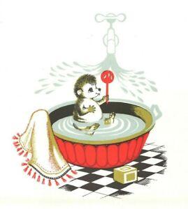 Antique Color Print (1960) – Baby Corkey Hedgehog Taking a Bath