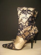 b0bf0081856 JIMMY CHOO Beige Satin Floral Calf High Dress Boots size 39 or 9