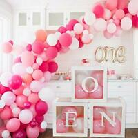 FengRise | Baby Girl 1st Birthday Pink Balloon Boxes | Party Decoration Set