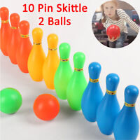 10Pin Skittle 2Ball Bowling Set Indoor Outdoor Party Game Toy Kid Child Color