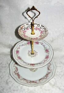 Custom Three Tier Cake Stand Made With Vintage Plates Tea Party