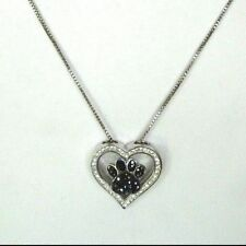 Stainless Steel Dog Paw Black and Clear Crystal Heart Necklace Pendant 18 Inches