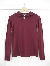 Ibex Burgundy Dark Red Hooded Base Layer 1/4 Zip Merino Wool Hoody Top Xs
