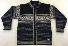 Dale of Norway 100% wool Nordic sweater cardigan winter ski navy blue mens S