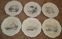 Vintage Ridgway Renaissance 1814 Royal Vistas Ware Ceramic Plates Set of 6 Dish