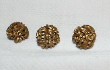 "VTG ART DECO SET OF 3 PAINTED GOLD CELLULOID 7/8"" BUTTONS"