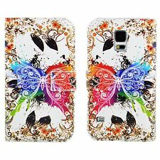 Butterfly Flip Leather Folding Wallet Cover Case For Samsung Galaxy S5 S V i9600