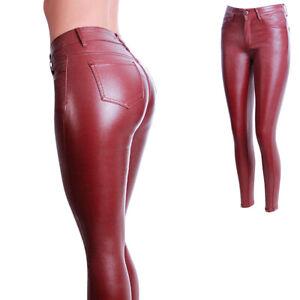 Femmes Brillant Pantalon Jeans Optique Cuir Stretch Wet Vinyl-Look Haut Taille