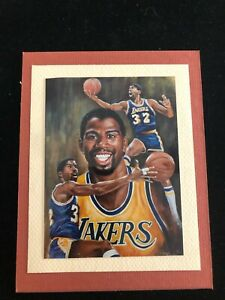 Magic Johnson - Matted Photo of Angelo Marino Lithograph - Los Angeles Lakers