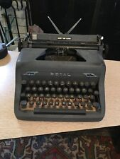 Vintage 1940's Royal Quiet DeLuxe Manual Portable Typewriter Gray Works