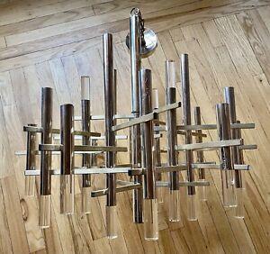gaetano sciolari brass/ chrome/ acrylic chandelier