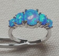 Art Deco Handcrafted Vintage Style Blue Fire Opal Silver Ring 7 Gift