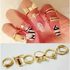 Fashion Women 7PCS Gold Skull Stack Plain Cute Above Knuckle Ring Band Midi Ring