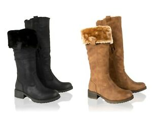Womens Ladies Knee High Fur Lined Boots Winter Biker Riding Low Heel Shoes Size