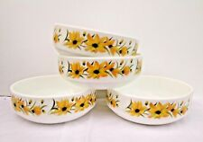 Set of 4 Vtg Pyrex White Yellow Flowers Floral Cereal Soup Desert Bowls Dishes