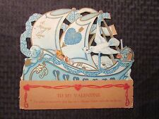Vintage Victorian? Pop-Up Valentine Card Gd+ 2.5 I'm Sailing to You 10x9""