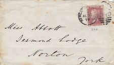 VICTORIA PENNY RED 1d USED PLATE 220 ON COVER NEWCASTLE UPON TYNE - YORK GB 239
