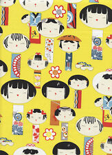 ADORABLE KOKESHI DOLLS: Ginger Asian Japanese Fabric -(By The Half Yd)