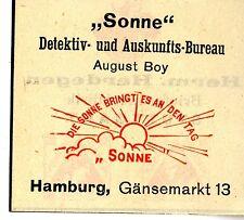 "Aug. Boy Hamburg DETEKTIV- & AUSKUNFTSBUREAU ""SONNE"" Trademark 1908"