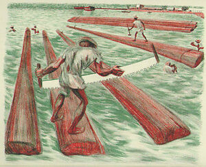Mexico - Alfredo Zalce - Signed Lithograph - Lumber Workers  -1946 - $$ Reduced