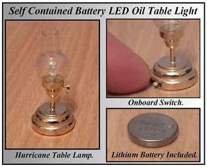 1/12, LED Battery No wiring Dolls House Brass Hurricane Light Table oil Lamp LGW