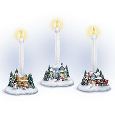 Holiday Lights Thomas Kinkade Candleholder Houses Bradford Exchange
