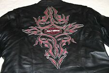 Harley Davidson Womens Kindred Leather Jacket Sz XS Black/Red with Embroidery