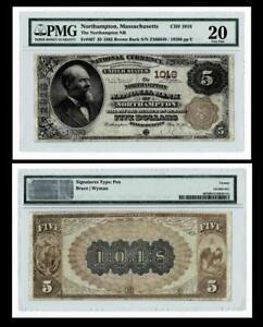 NORTHAMPTON, MA $5 1882 Brown Back Fr.467 The NORTHAMPTON NB Ch. # 1018 PMG VF20
