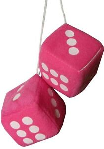 Car Pink & White Soft Spotty Furry Fluffy Hanging Mirror Dice Rear View