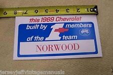 1969 Camaro Echo Built by NORWOOD Factory Chevelle GM display windshield #1card