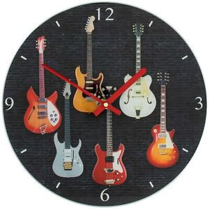 Guitar Design Clock Glass Guitarist Gift Guitar Player Gift Guitar Themed L&P